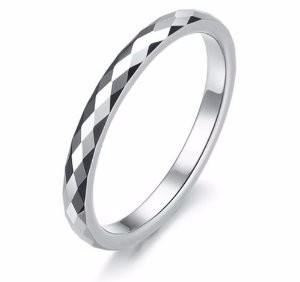 Elegante negro anillo de compromiso alianzas anillo de la promesa de carburo de tugsteno