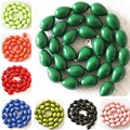 "9x13mm Charms paint glass beads teardrop waterdrop mix-color fashion jewelry making 15"" B1085"