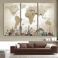 Unframed 3 Pieces Large Canvas Painting Beige Map Cities Of Various Countries Image Fashion Decoration Art