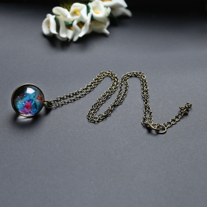 Romantic Starry Sky Pendant Valentine's Day Universe Necklace Gifts Double-sided Transparent Glass Ball Pendant Birthday Gifts 4