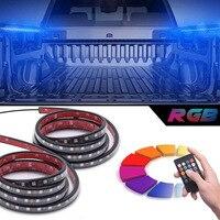 SITAILE 2Pcs 60 RGB LED Truck Bed Lights Wireless Remote Car Strip Lamp Lighting Kit Waterproof