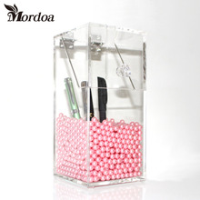 2016 Free Shipping Acrylic Brush Holder Lipstick Organizer Makeup Tools Cosmetic Display Rack Holder with White or Pink Pearls