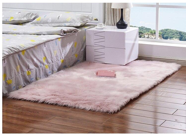 Luxo retângulo quadrado macio lã artificial pele
