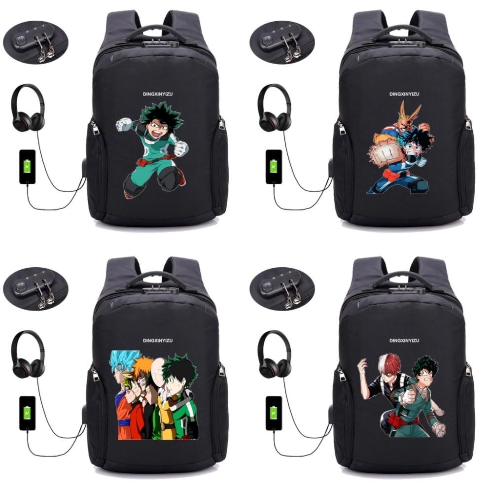 anime Boku no Hero Academia Anti-theft USB Charging Laptop Travel Bag Schoolbag book Rucksack My Hero Academia backpack 18 styleanime Boku no Hero Academia Anti-theft USB Charging Laptop Travel Bag Schoolbag book Rucksack My Hero Academia backpack 18 style