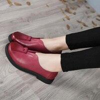 2017 VALLU Handmade Women Shoes Genuine Leather Flat Heels Round Toes Platform Women Flats Sheepskin Plus Size 41