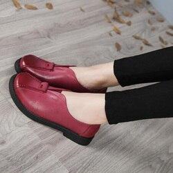 2017 VALLU fait à la main femmes chaussures en cuir véritable talons plats bout rond plate-forme femmes appartements en peau de mouton grande taille 41