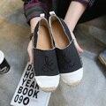 2017 Women Studded Loafers Espadrilles Slip On Slipony Ballet Flats Platform Flat Shoes Ladies Brand Designer Canvas Espadrilles