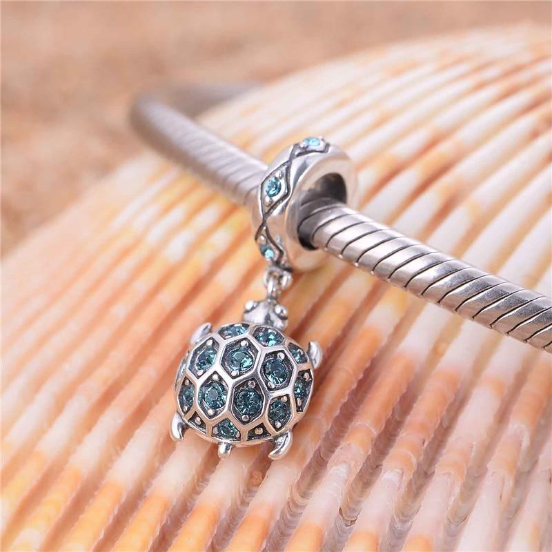 Silver 925 hänge smycken Animal European Charms With Sky Blue Cz - Fina smycken - Foto 6
