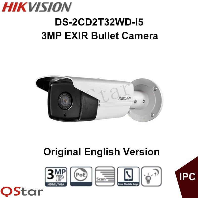 Hikvision Original English Version DS 2CD2T32 I5 3MP EXIR Bullet camera POE IP Camera Low illumination