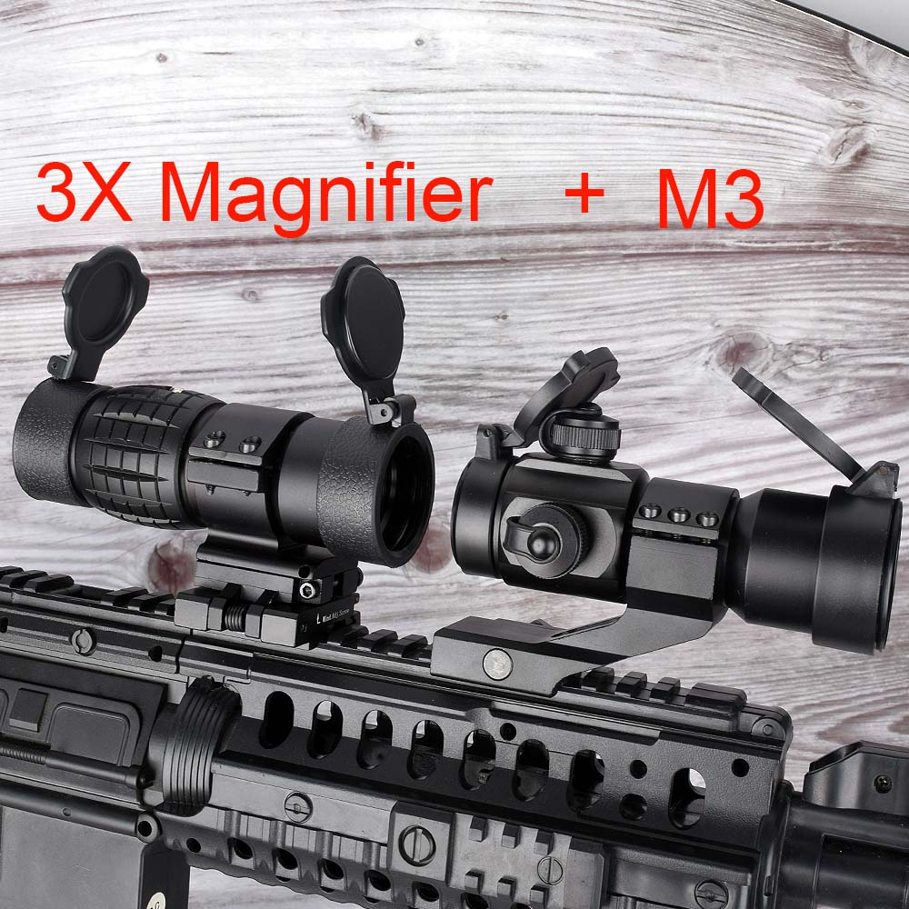 2in1 M3 + 3x Magnifier Scope Optical Sight Red Dot Hunting Scope Collimator Sight Rifle Reflex Shooting L Shaped Mount