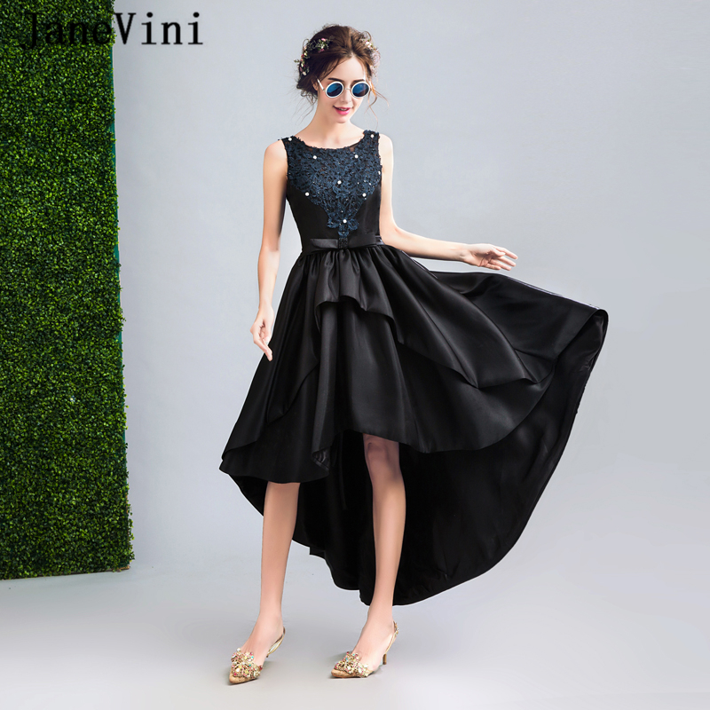 JaneVini 2018 High Low Black Mother Of The Bride Dresses Plus Size Satin Lace Appliques Beaded Backless Evening Gowns For Women