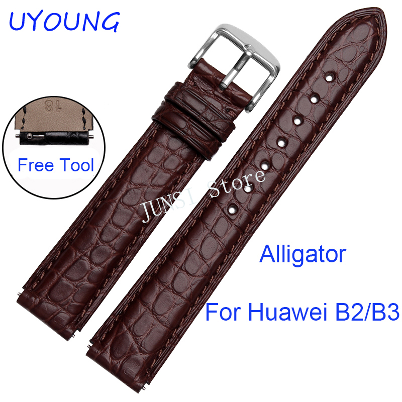 UYOUNG Watchband For Huawei B2 B3 Quality Alligator Leather Watch band Luxury Leather Strap Smart watches accessories цена