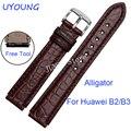 Uyoung correa para huawei b2 b3 calidad alligator reloj de cuero correa de cuero de lujo banda relojes inteligentes accesorios