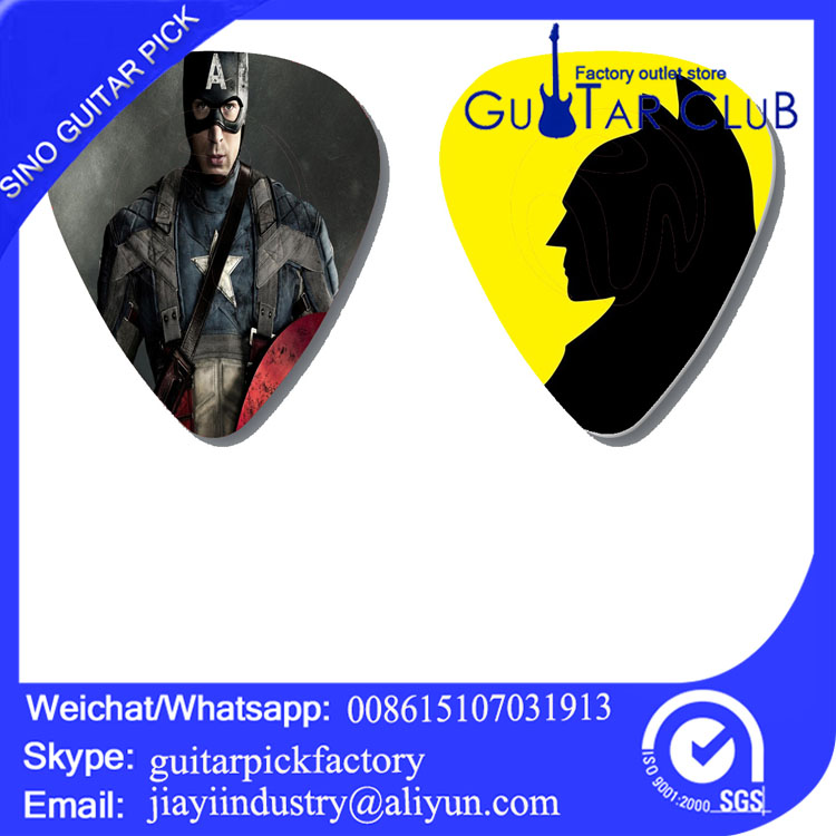 Free shipping Captain America Super hero custom guitar picks Marvel celluloid plectrums two side guitar plectrum