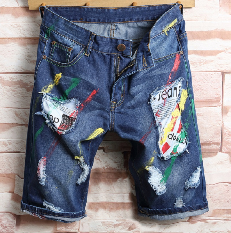 Для мужчин новые хлопковые тонкие джинсовые шорты в стиле пэчворк рваные летние мужские Повседневное отверстия укороченные джинсы мягкие ...