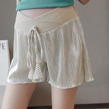 Summer Fashion Solid Color Stomach Lift Tether Maternity Shorts Casual Plus Size Low Waist Pleated Shine Pregnant Short Pants summer casual loose maternity shorts low elastic waist side white strip pregnancy short pants stomach lift pregnant shorts