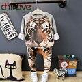 Chifave nuevos niños ropa de invierno conjuntos niños de manga larga caliente tigre Traje Conjuntos para Niños Muchachos de Los Bebés Outwear Gruesa ropa
