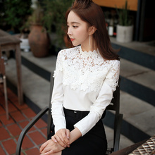 original 2017 blouses women spring big sizes ladies fashion stand collar long sleeved lace patches white