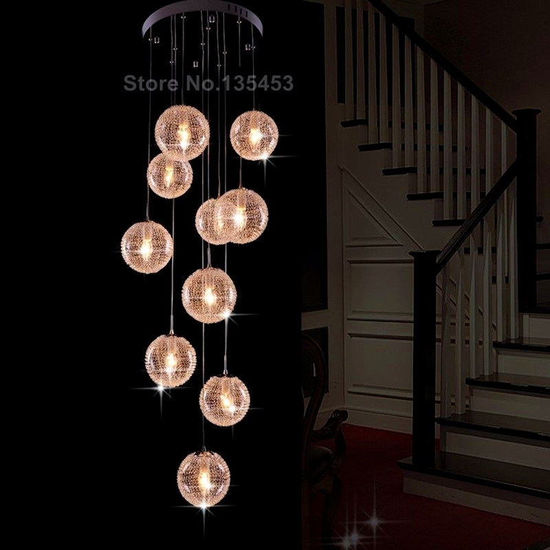 Online Get Cheap Large Foyer Chandeliers -Aliexpress.com | Alibaba ...:Europe Ceiling Lights high quality Large Long Stair E14 Round Ball 10  Lights lustres de teto,Lighting