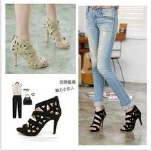 Schuhe frauen sandalen coolen boots 2016 ausschnitt schuhe mit hohen absätzen gürtel offene spitze plattform dünne heels sandalen sommer sexy Weibliche schuhe