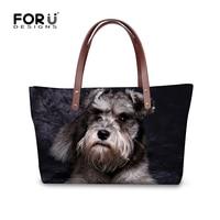 FORUDESIGNS 3D Schnauzer Printing Handbags Women Bags Designer Bolsa Feminina Sac a Main Bolsos Tote Casual Ladies Shoulder Bag