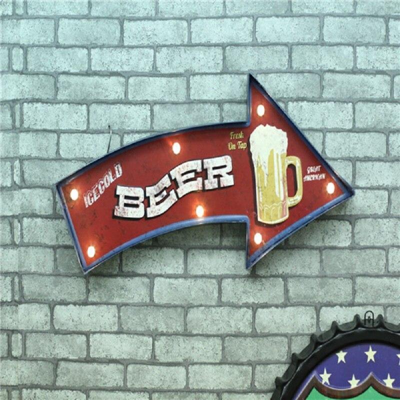 LED néon signe Vintage décor à la maison Lightbox Cerveja bière fer décoratif tentures murales Shabby chic métal artisanat Placas decorativas