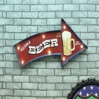 LED Neon Sign Vintage home decor Lightbox Cerveja Beer Iron decorative wall hangings Shabby chic Metal Crafts Placas decorativas