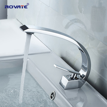 ROVATE Bathroom Basin Faucet Brass Chrome Sink Mixer Tap Vanity Hot and Cold Water - discount item  37% OFF Bathroom Fixture