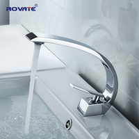 ROVATE Bathroom Basin Faucet Brass Chrome Sink Mixer Tap Vanity Hot and Cold Water