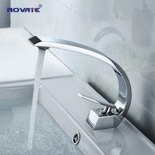 ROVATE banyo havzası musluk pirinç krom lavabo bataryası dokunun Vanity sıcak ve soğuk su