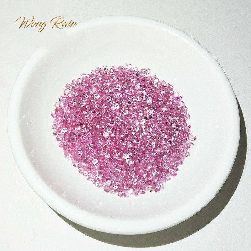 Jewelry-Accessories Pink Sapphire Loose Gemstone Natural Round Wong Rain 1pcs 2-Mm Diy-Decoration