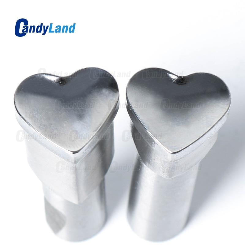 Candyland coração leite tablet morrer 3d pílula imprensa molde doces perfuração morrer logotipo personalizado cálcio tablet soco morrer para tdp 0 máquina