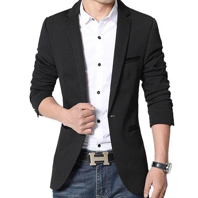 Brand Mens Casual Blazers Autumn Spring Fashion Slim Suit Jacket Men Blazer Masculino Clothing Vetement Homme M~5XL HF1415 3