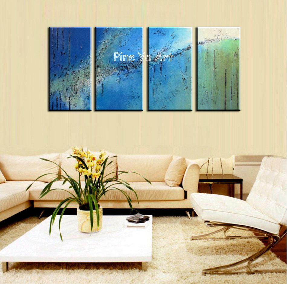 4 piece abstract canvas art handpainted blue decorative acrylic wall ...