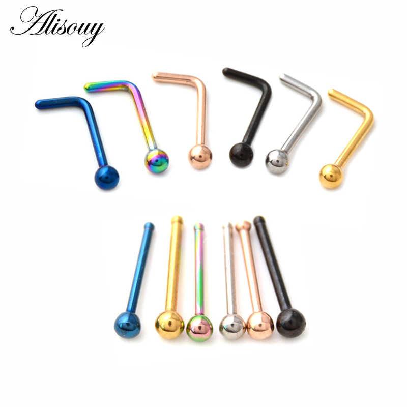 Alisouy 1 ชิ้น Simple L รูปร่างเหล็กผ่าตัด 0.8*7 มิลลิเมตรจมูกหู Studs Hooks บาร์จมูกแหวน Body Piercing เครื่องประดับสำหรับผู้หญิง