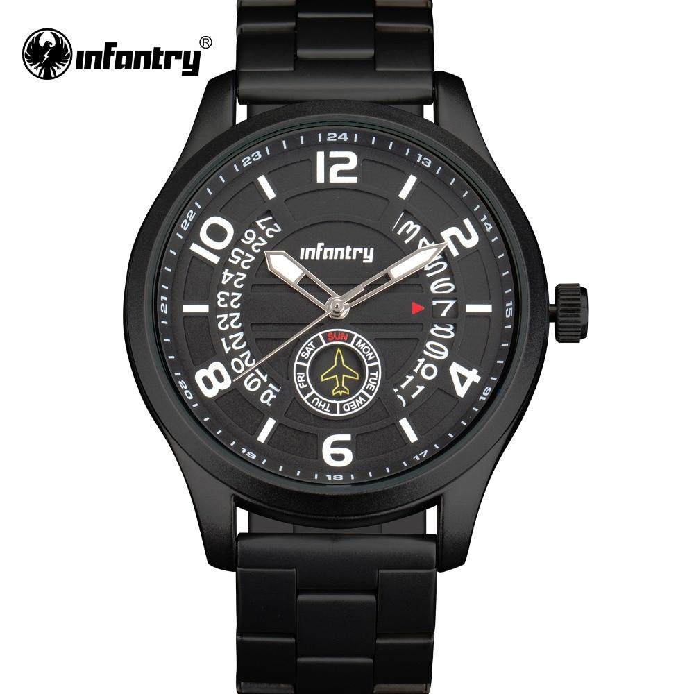 INFANTRY Quartz Watches Men Luxury Brand Stainless Steel Luminous Wrist Watch Big Dial Waterproof Male Clock Relogio Masculino цены онлайн