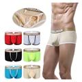 Pouch Boxer Low Waist WJ Men Underwear Transparent Cueca Boxer Through Men Sheer Boxer Shorts Breathable Summer Man Silk Boxers