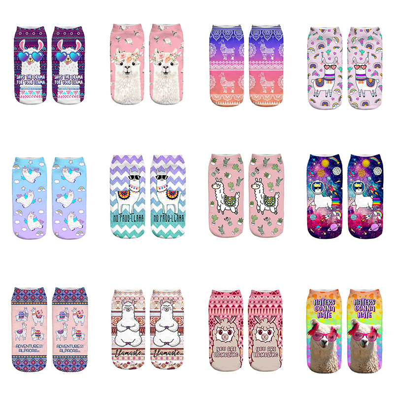 ADVENTURE Llama New Hot Girl Funny Meias Low Cut Ankle Sock Women Hosiery Printing SocksCalcetines Christmas Gift Socks