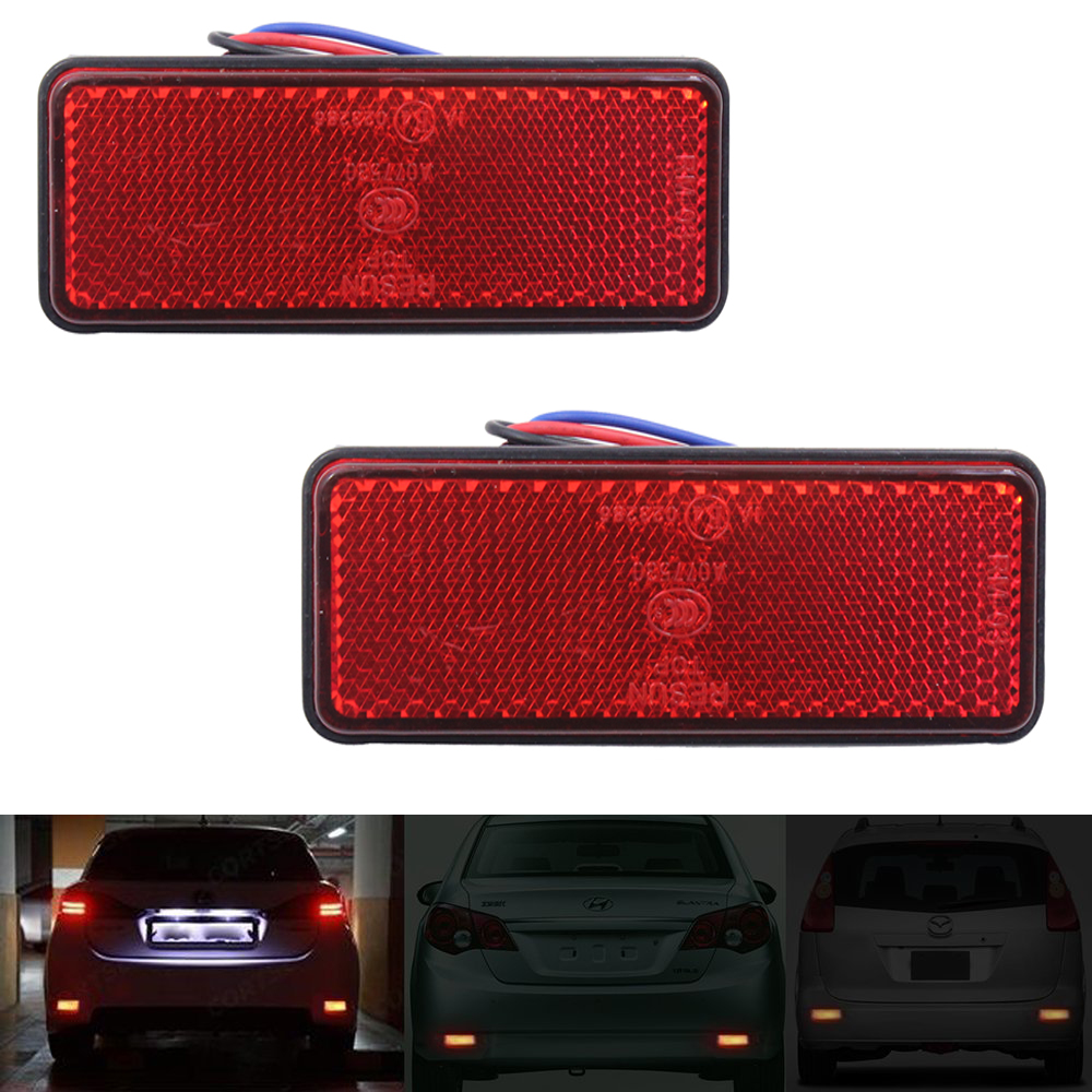 2x Rectangle Reflector LED Colored Tail Brake Stop Light Third Motorcycle Truck