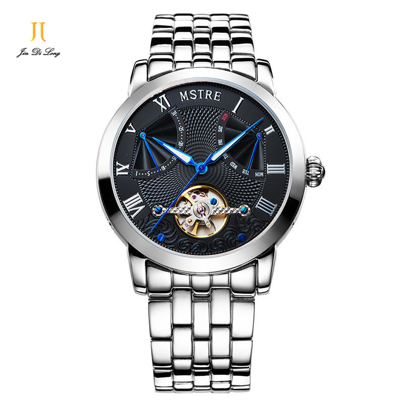 цена на 2*#Classic Luxury Business Watches Men Automatic Self-wind Wrist Watch Stainless Steel Sapphire Tourbillon Waterproof 100M
