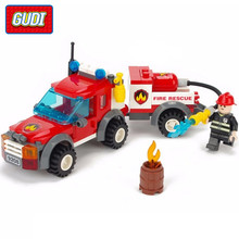 GUDI 122Pcs City Fire Truck font b Building b font Blocks Children Educational Assembled font b