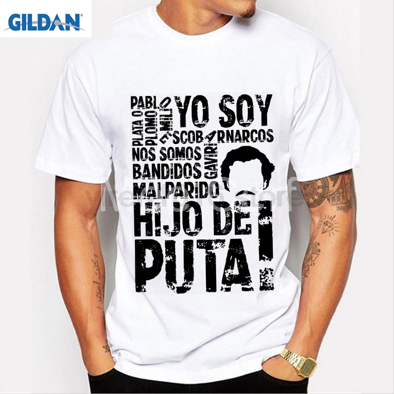 NLKING de la marca de los hombres T camisa Plata O Plomo Narcos Pablo  Escobar Plata Plomo de manga corta en Camisetas de La ropa de los hombres en  ... 62da61c655d