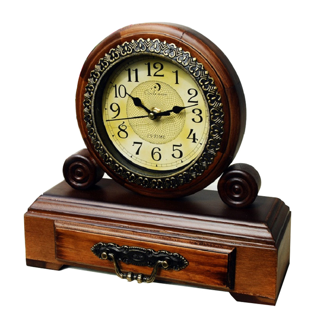Classical Vintage Chinese Style Wooden Mute Desktop Clock With