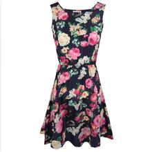 2016 Fashion Women's Dresses Apricot Sleeveless Florals Print Pleated Dress Beach Dresses Summer Clothes Dress For Women