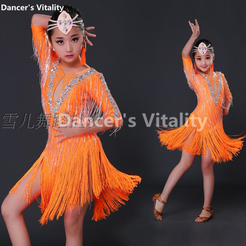 Professional Child Tassels Latin Dance Ballroom Girls Samba Salsa Dresses Costumes Women Tango Dress For girls dance dress ...
