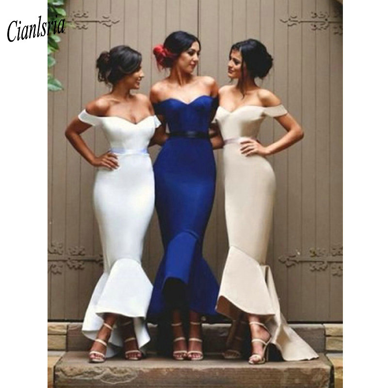 Cheap Off The Shoulder High Low Simple   Bridesmaid     Dresses   With Sashes Wedding Guest   Dress   For Wedding Party vestido madrinha