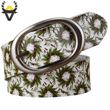 Genuine leather belts for women Fashion printing green leaves floral woman belt Quality Pin buckle Cow skin girdle female jeans(China)