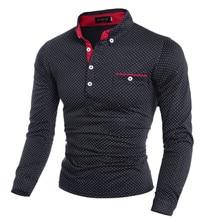 Новая весенняя модная мужская рубашка поло в горошек с длинным рукавом, Мужская Однотонная рубашка поло со стоячим воротником, размера плюс M-3XL