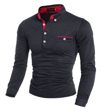 2019 New Spring Fashion Mens Dot Long Sleeve polo Shirts Stand Collar Male solid Polo Shirt free shipping plus size M-3XL 1