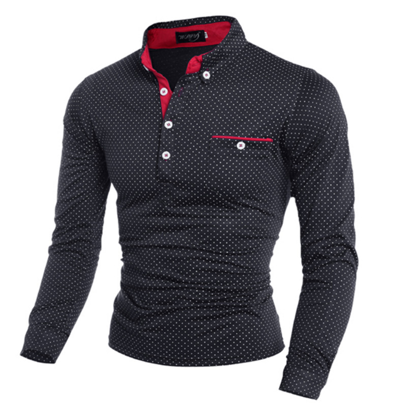 2019 New Spring Fashion Mens Dot Long Sleeve   polo   Shirts Stand Collar Male solid   Polo   Shirt free shipping plus size M-3XL